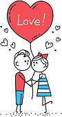 Happy Valentines Card. Guy is kissing girl. Couple in love holding red heart shaped balloon with lettering Love.