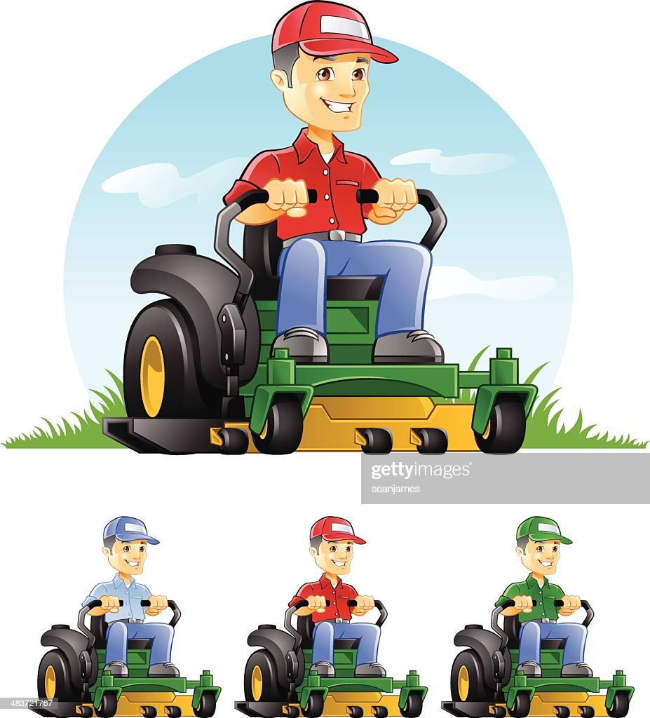 Guy Riding Lawn Mower Vector Art | Getty Images