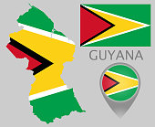 Colorful flag, map pointer and map of the Guyana in the colors of the Guyanese flag. High detail. Vector illustration