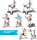 Gym exercises machines sports equipment.