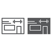 Gym line and glyph icon, athletic and sport, building sign, vector graphics, a linear pattern on a white background, eps 10.