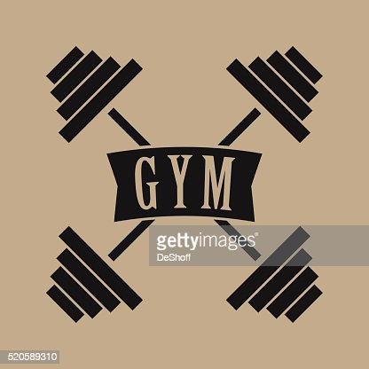Gym Logo Cross Dumbbells Vector Art | Thinkstock