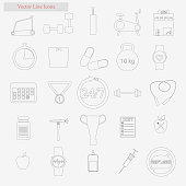 Gym Set vector style line icons on white background
