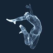 Gymnast. Man. 3D Human Body Model.