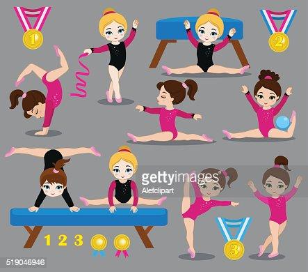 Gymnastics cute girls set. : stock vector