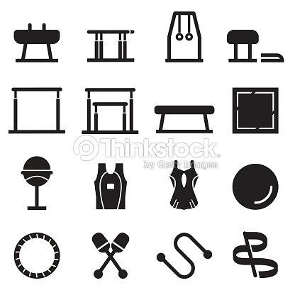 Gymnastics Equipment Icons Black Edition stock vector