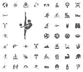 Gymnastics icon. Sport illustration vector set icons. Set of 48 sport icons