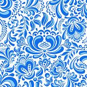 Beautiful seamless pattern in Russian style gzhel.