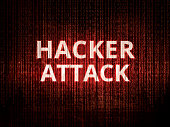 Text hacker attack on background with binary encoding in red.  Concept of invasion of privacy, hacker attack, computer attack by virus, ransomware, malware or spyware.