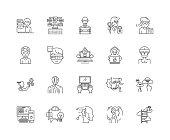Hacker line icons, linear signs, vector set, outline concept illustration