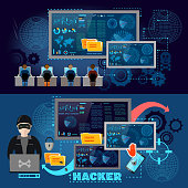 Hackers cyber army hacking and surveillance of computers, data theft. Hacker team internet security concept