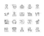 Hackers line icons, linear signs, vector set, outline concept illustration