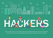 Hackers using laptops for stealing login password, money, email, private messages and credit cards using virus. Flat desing illustration