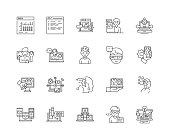 Hacking line icons, linear signs, vector set, outline concept illustration