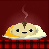 Vector illustration of a happy haggis on a plate with neeps and tatties, on a tartan tablecloth