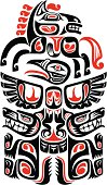Haida style tattoo design created with animal images.