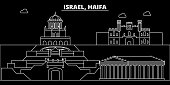 Haifa silhouette skyline. Israel - Haifa vector city, israeli linear architecture, buildings. Haifa line travel illustration, landmarks. Israel flat icon, israeli outline design banner