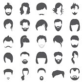 Hair 25 black simple icons set for web design