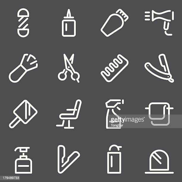 Hair Care Barber Icons - White Series