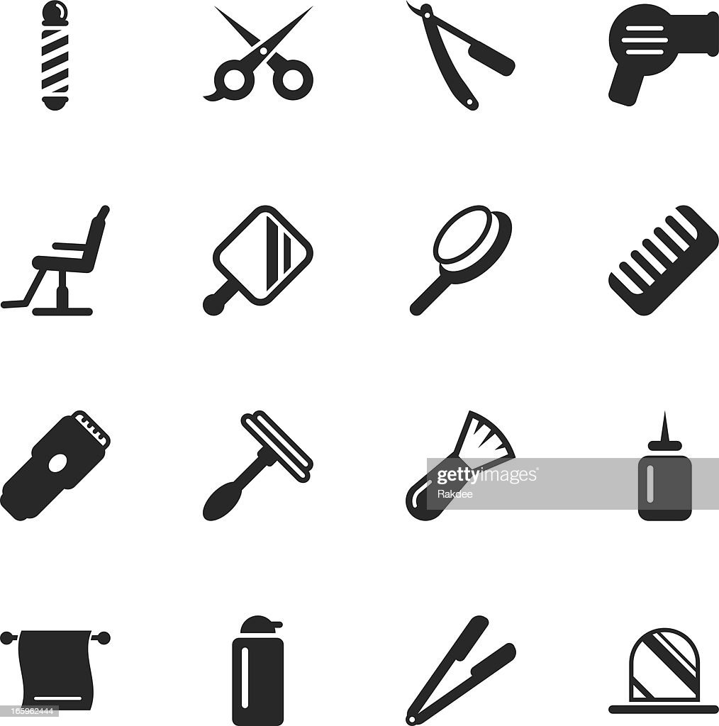 Hair Care Barber Silhouette Icons Vector Art | Getty Images