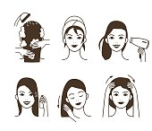 Woman take care about her hair. Different hair care procedures. Vector illustration.