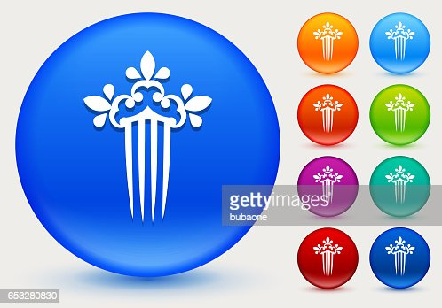 Hair Clip Icon on Shiny Color Circle Buttons : Vector Art