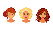 Set of female avatars with various hair styles and hair color. Vector illustration