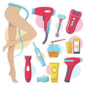 Hair removal equipment for women. Electric epilator, shaver, shaving razor, waxing strips, hot wax in bowl laser machine, well-groomed woman legs icons. Isolated illustration on a white background.