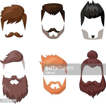 Frisuren Bart Und Haare Schneiden Maske Gesichts Flache