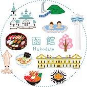 Hakodate Tourism -Flat icons.