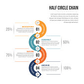 Vector illustration of half circle infographic design element.