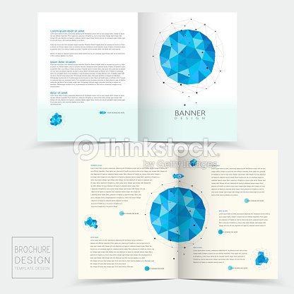 Halffold Brochure Template With Geometric Blue Crystal Elements
