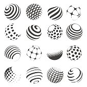 Halftone black and white sphere set isolated on white background. Vector abstract spheres with dots and stripes for logo and web designs