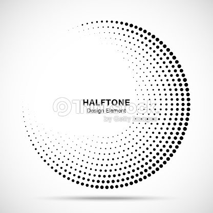 Halftone circle frame abstract dots logo emblem design element for medical, treatment, cosmetic. Round border Icon using halftone circle dots raster texture. Vector illustration. : stock vector