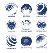 Global technology icon set. Vector circles sphere icons for tech brands