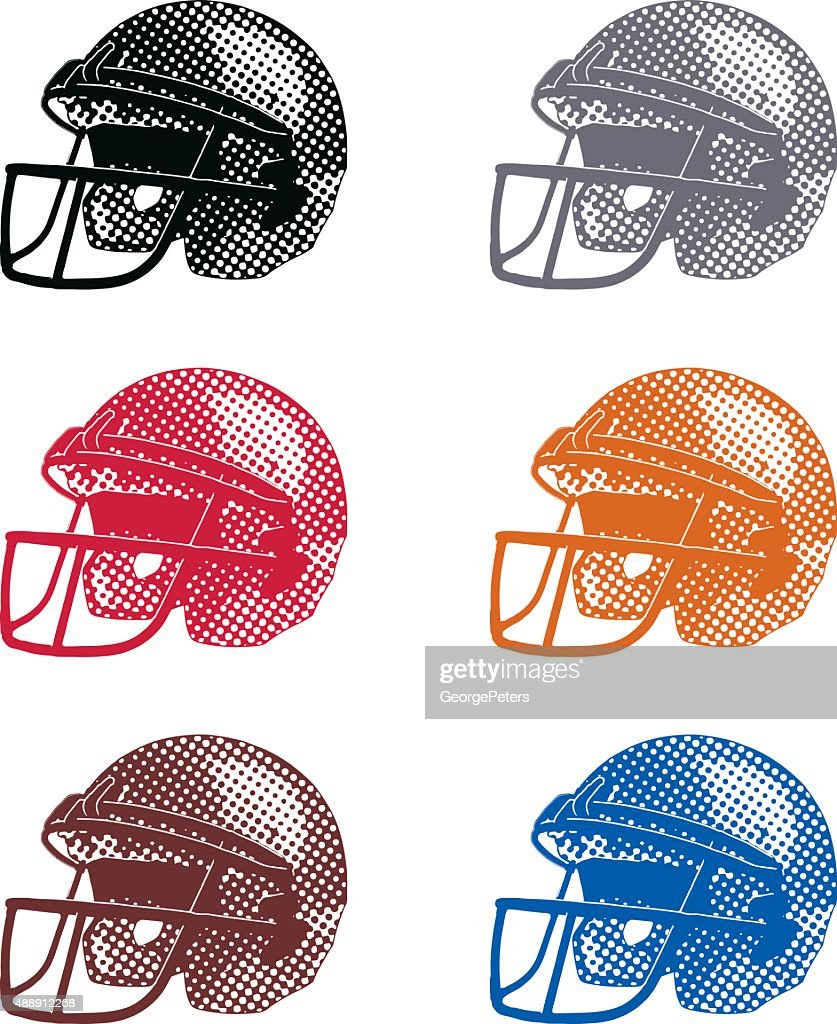 halftone dot football helmets colorful set vector art getty images
