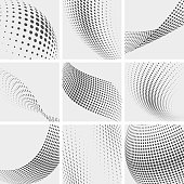 Halftone dots, group pointing abstract vector backgrounds. Pattern with point and dots illustration