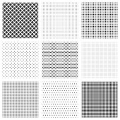 Halftone dots seamless pattern set. Polka dot net textures or dots grid wallpapers, vector illustration