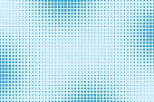 Halftone dotted pattern as a background. Comics pop art style blue dots vector texture for your design
