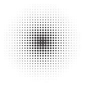 Halftone dotted vintage retro round gradients. Monochrome pop art vector illustration.