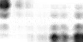 Halftone effect vector background. Monochrome dotted gradient