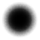 Halftone element isolated on white background. Circular halftone pattern. Radial gradient. Vector