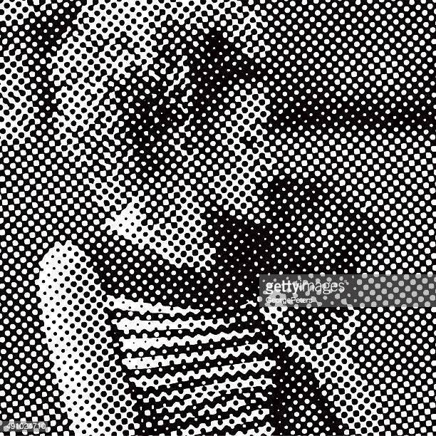 Halftone Pattern Vector of Retro 1950's Woman Kissing Dog