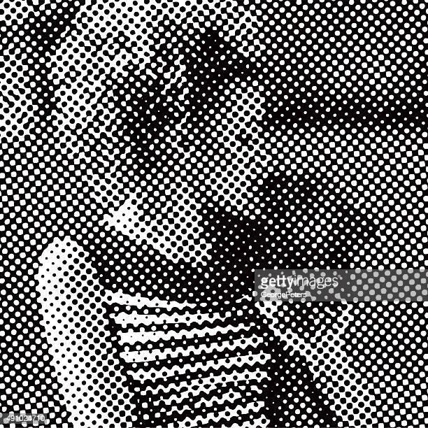 Vecteurs de demi-teinte motif rétro années 1950 femme embrasser chien