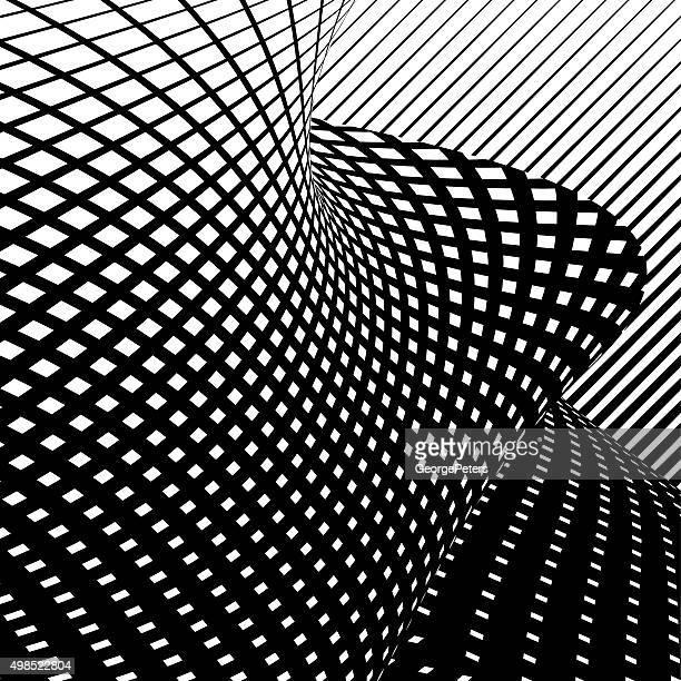 Halftone Pattern Wavy Grid with Gradient and Black Background