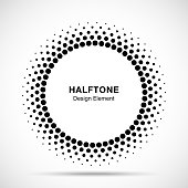 Halftone vector circle frame dots symbol emblem, design element for medical, treatment, cosmetic. Round border Icon using halftone circle dots raster texture.