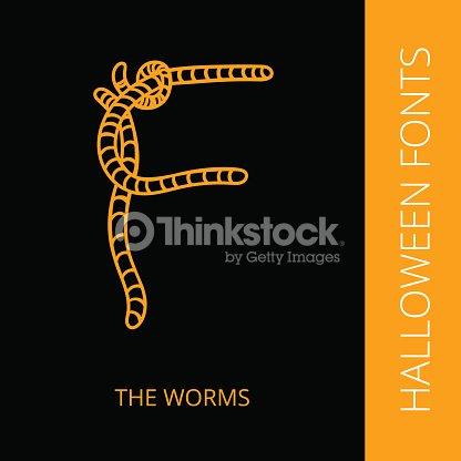 Halloween Alphabet Letter F Consist Of The Worms Vector Art | Thinkstock