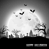 Vector illustration of Halloween background with graveyard on the full moon