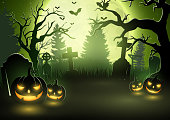 Vector illustration of Halloween background with scary pumpkins