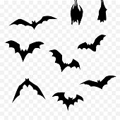 isolated black silhouette halloween bat set